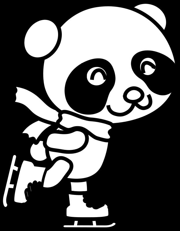 Free Skating Panda Coloring Page