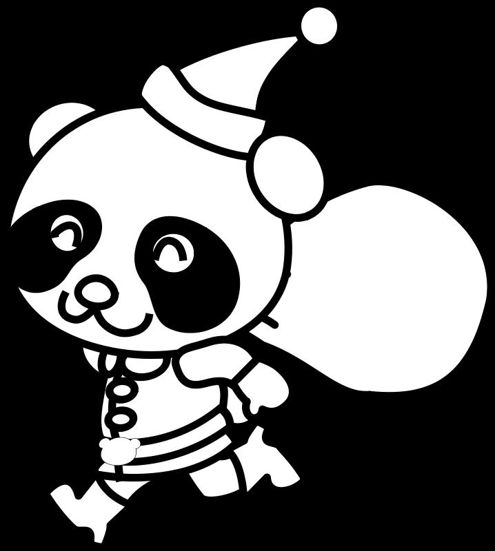 Free Santa Panda Coloring Page
