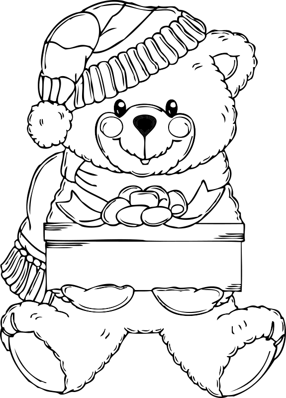 Free Christmas Bear Coloring Page