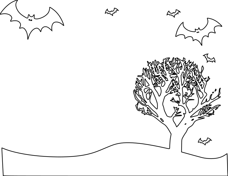Free Halloween Landscape Coloring Page
