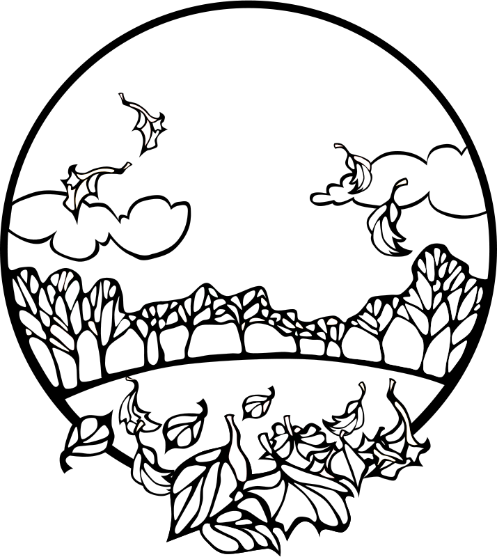 Free Fall Scene Coloring Page