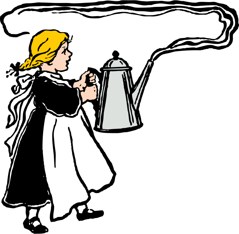 Free Clipart: Girl carries big steaming coffee pot | Food