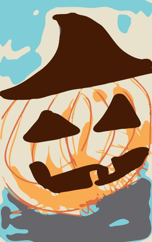 Free Halloween pumpkin in straw hat