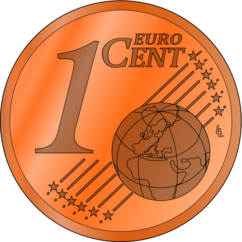 Free one euro cent, colored