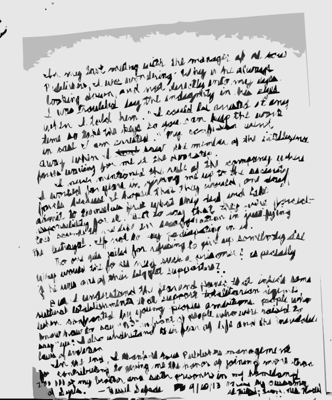 Free Bassel Letter Clarifying Arrest ENGLISH