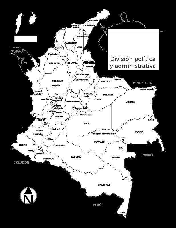 Free Mapa físico de Colombia