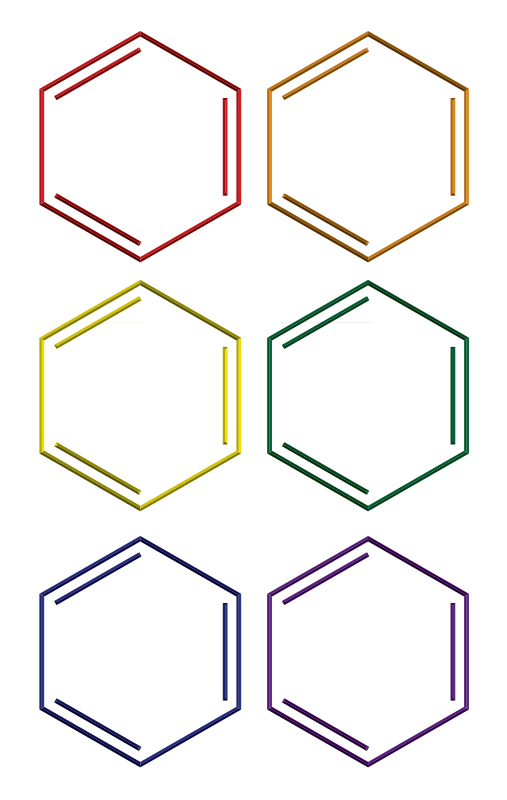Free Benzene rings in rainbow colors