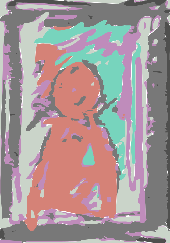 Free Red figure with multi color crayons