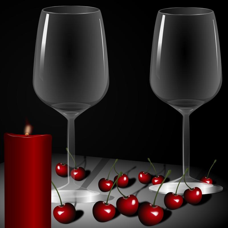 Free candles, glasses, cups, cherry, taurės, žvakės, vyšnios