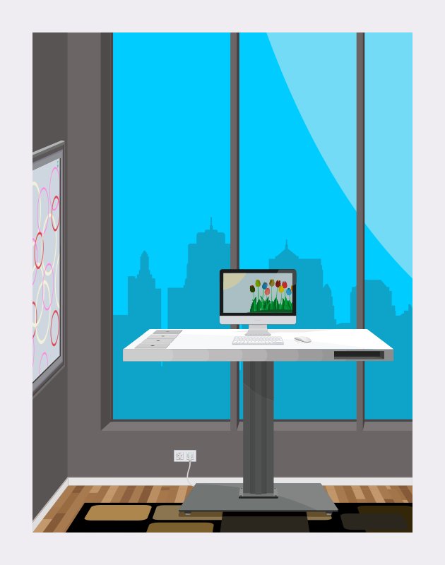 Free Standing Desk With City View