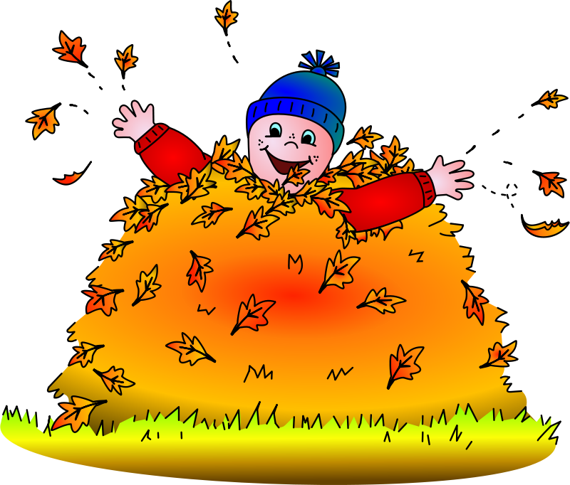 Free Child in leaves (colored)