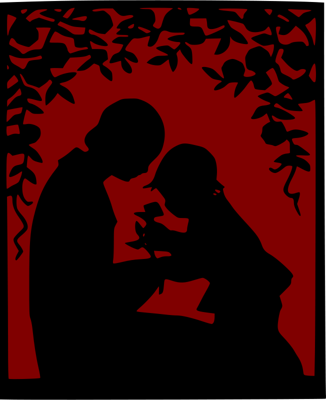 Free Mother and child among roses