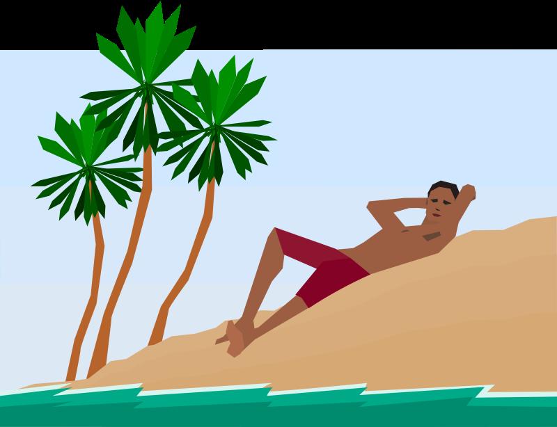 Free man under palm trees