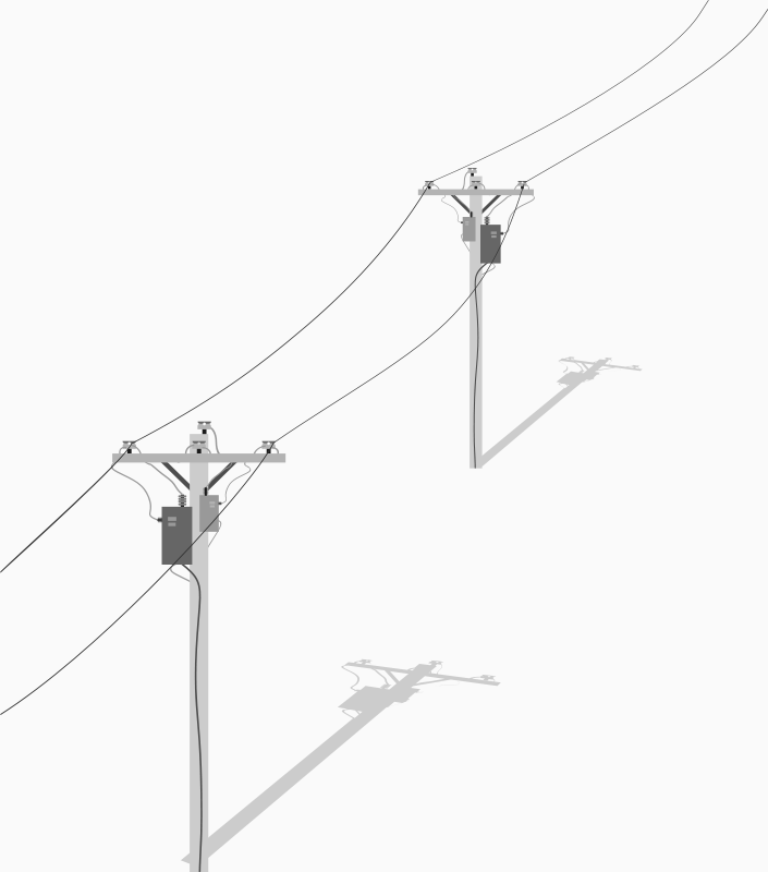 Free Clipart: Two Telephone - Utility Poles With Wires | barrettward