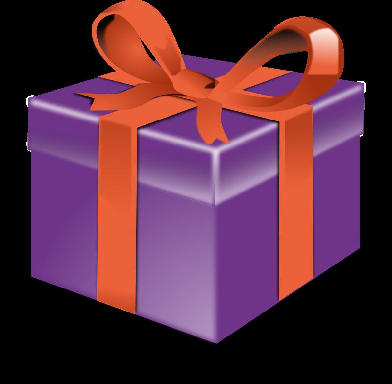 Free Purple present orange ribbon