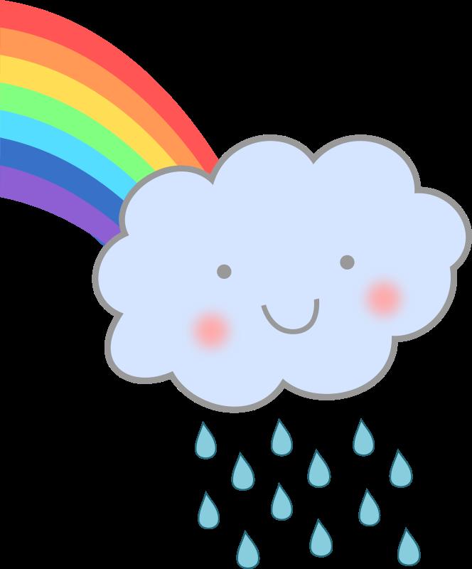 Free Cute Rain Cloud with Rainbow