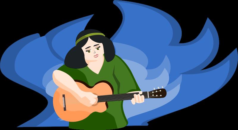 Free bard woman playing gitar