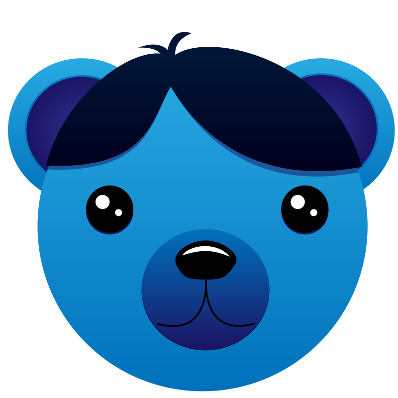 Free Blue Bear with parted hair