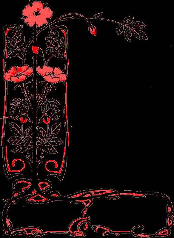 Free Corner Flower Frame - Red