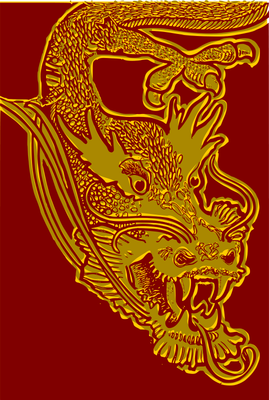 Free Chinese Dragon Head - red & yellow