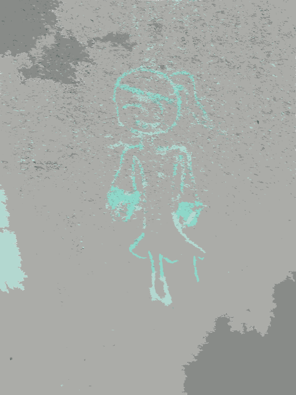 Free Girl drawn in chalk in the wall