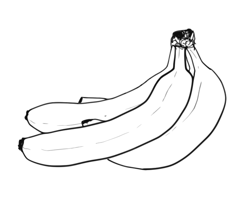 Free Banana Bunch Line Art