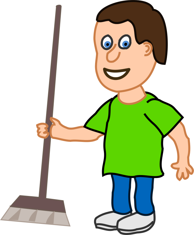 Free young housekeeper boy with broomstick