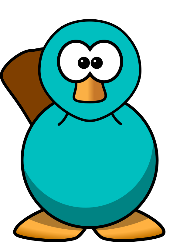 Free Cartoon Platypus Teal