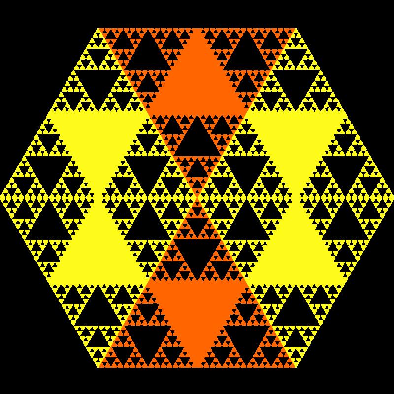 Free Serpinski hexagon