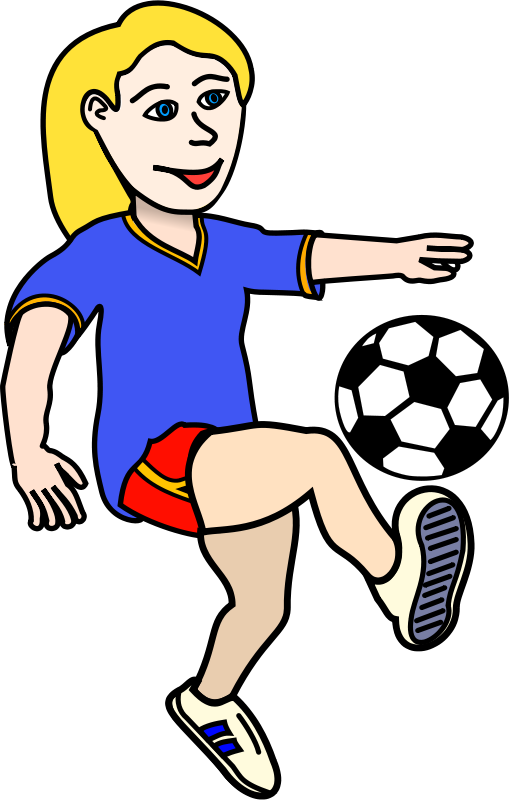 Free Soccer playing girl coloured