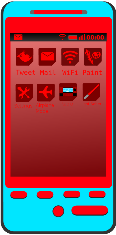 Android Phone Blue and Red