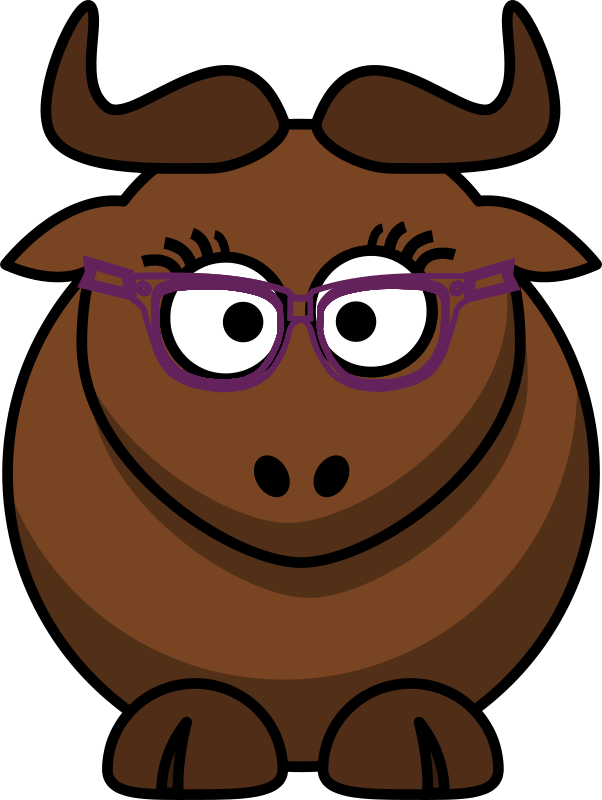 Free Clipart: Cartoon Gnu Nerdy/Cute | ephemeralwaves