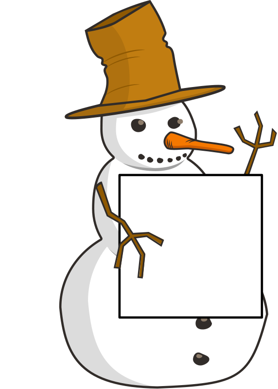 Free sign-holding snowman