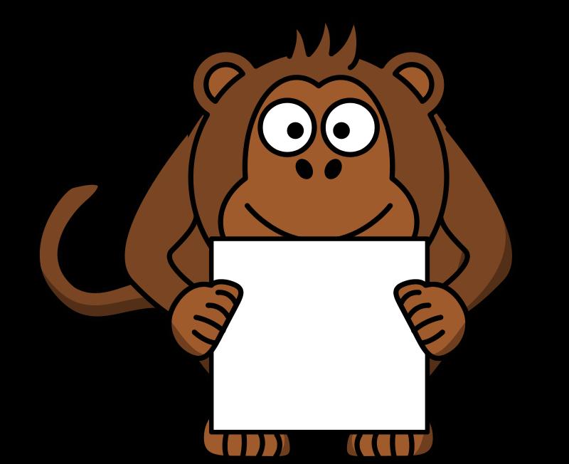 Free sign-holding monkey
