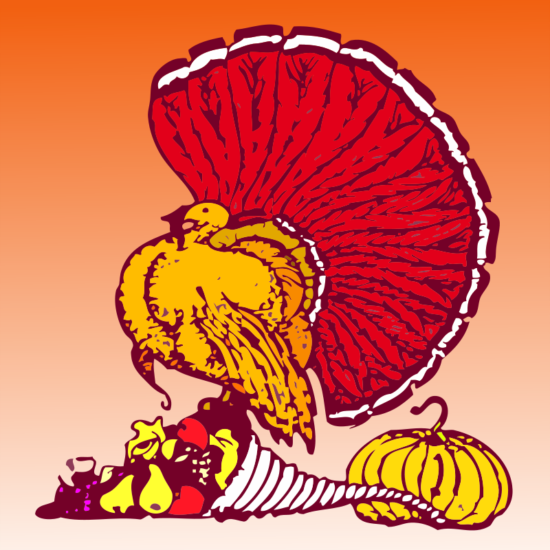 Free Thanksgiving turkey and harvest with orange background