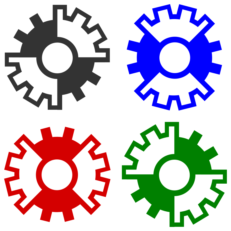 Free abstract gear wheels