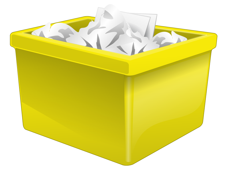 Free Yellow Plastic Box Filled With Paper