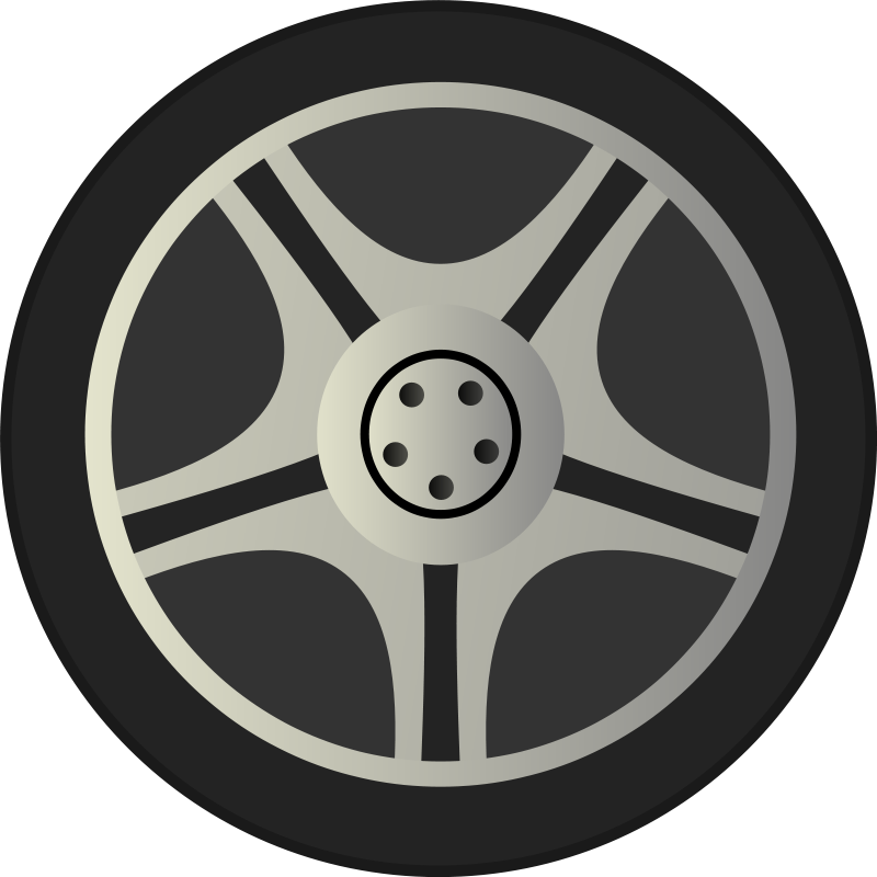 Free Simple Car Wheel Tire Rims Side View