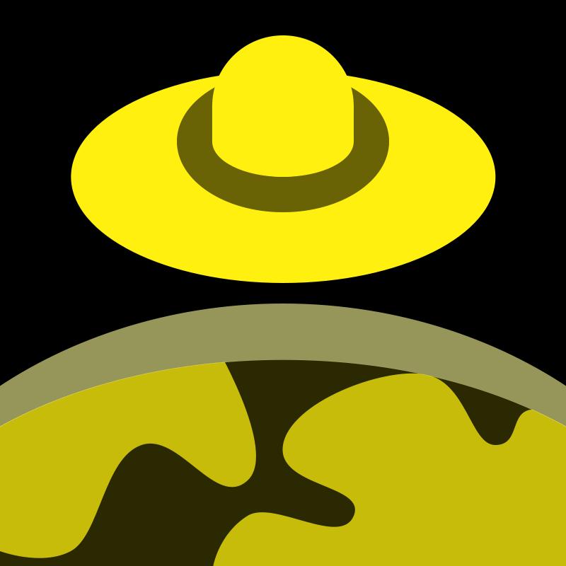 Free Yellow/Black UFO over planet 16px icon