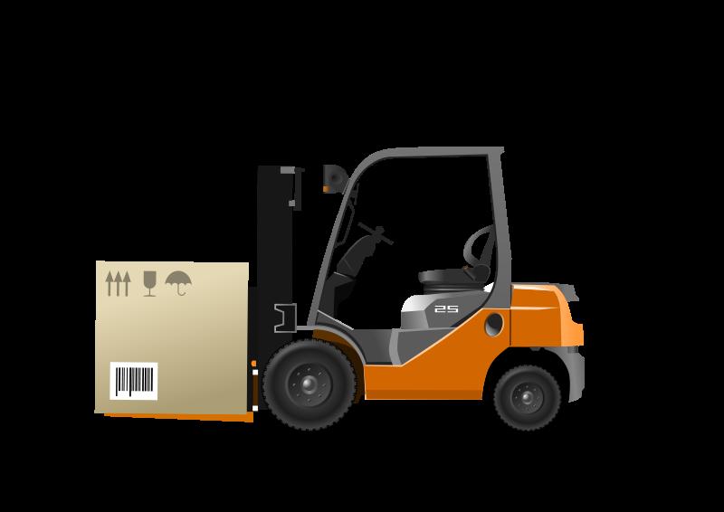 Free Orange forklift loader with box