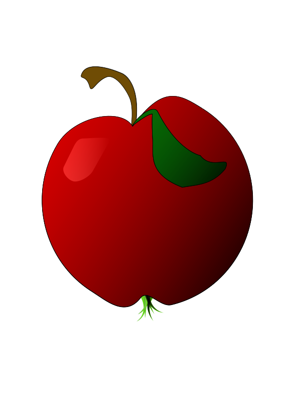 Free Clipart A Red Apple Mairor