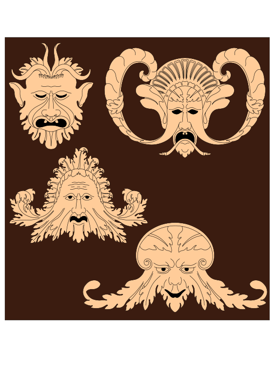 Free Grotesques from carved panels