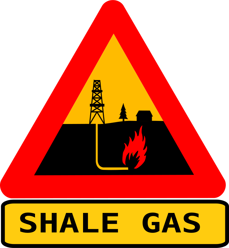 Free Warning shale gas with text