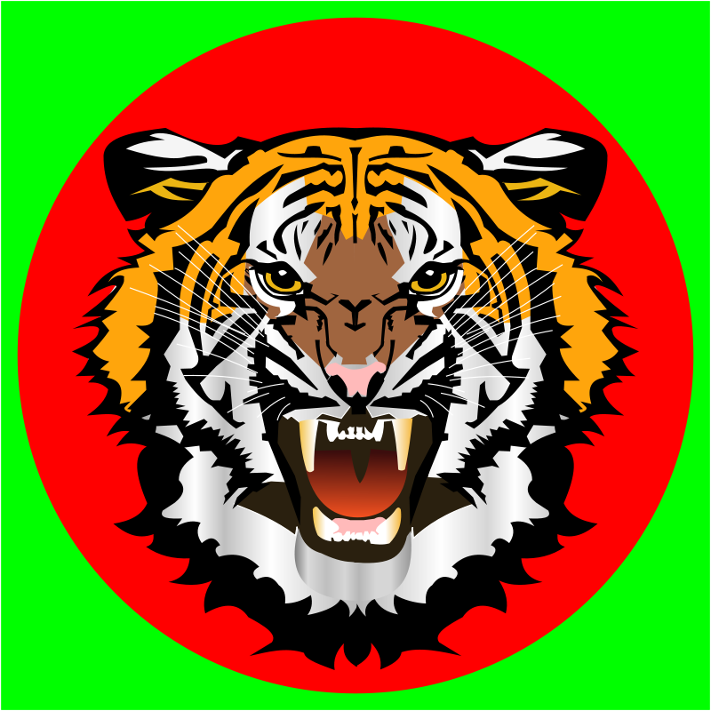 Free Tiger red on green