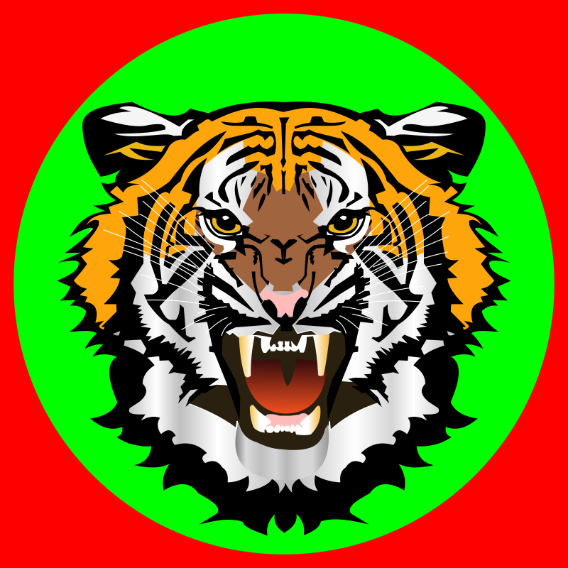 Free Tiger green on red