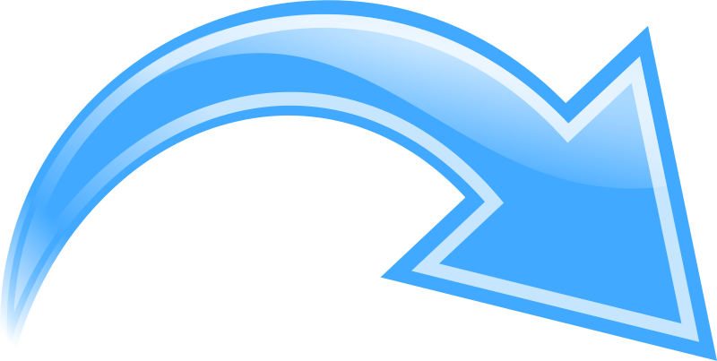 Free Curved Arrow, Blue