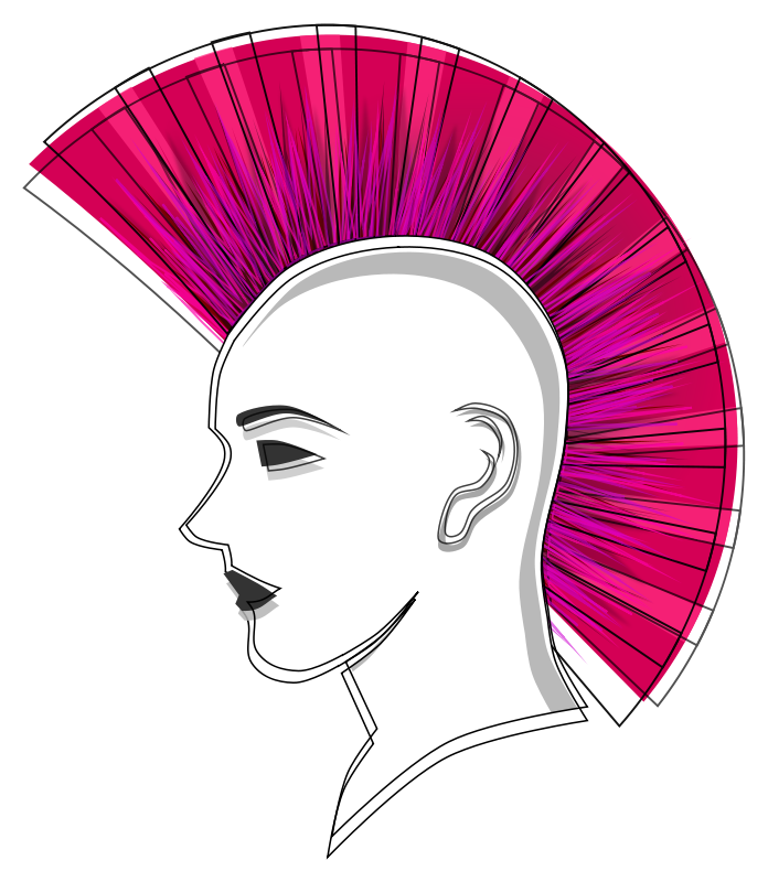 Free Stylised Punk Pink Mohawk