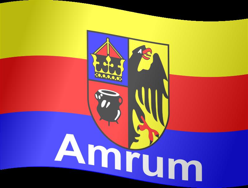 Free Amrum Flagge (wehend mit Schatten)