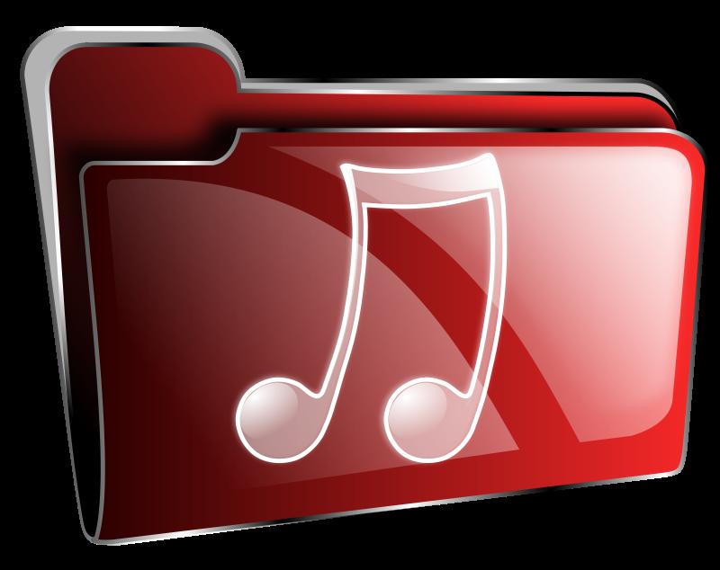 Free Folder icon red music