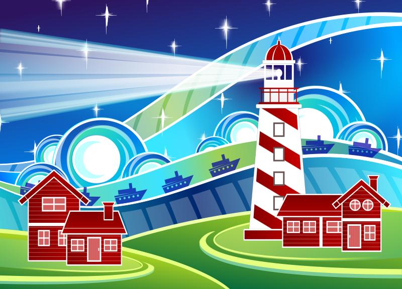 Free Stylised Lighthouse Scenery
